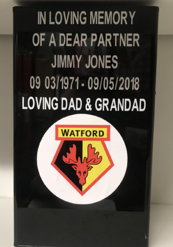 Watford F. C. Square grave flower pot.